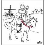 Basteln Stechkarten - Malvorlage Sankt Nikolaus 4