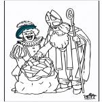 Basteln Stechkarten - Malvorlage Sankt Nikolaus 5