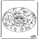 Malvorlagen Mandalas - Mandala Pferden 1