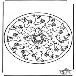 Malvorlagen Mandalas - Mandala Vögel