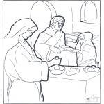 Bibel Ausmalbilder - Maria Martha und Jesus