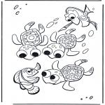 Ausmalbilder für Kinder - Marlin und Schildkröten