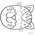 Malvorlagen Basteln - Maske Katze