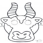 Malvorlagen Basteln - Maske Kuh 1