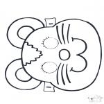 Malvorlagen Basteln - Maske Maus