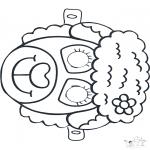 Malvorlagen Basteln - Maske Schaf