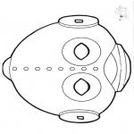 Malvorlagen Basteln - Maske ufo