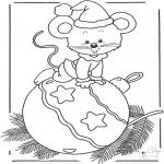 Malvorlagen Winter - Maus mit Christbaumkugel