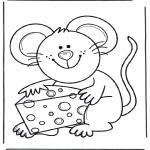 Ausmalbilder Tiere - Maus mit Käse
