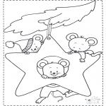 Ausmalbilder Tiere - Mäuse in Weihnachtsstern