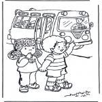 Ausmalbilder für Kinder - Mit dem Bus zur Schule