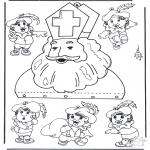 Basteln Stechkarten - Mobile Sankt Nikolaus
