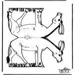 Malvorlagen Basteln - Modellbogen Esel