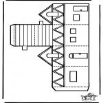 Malvorlagen Basteln - Modellbogen  Haus 2