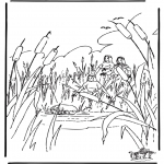 Bibel Ausmalbilder - Moses im Körbchen