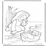 Bibel Ausmalbilder - Moses und seine Mutter