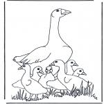 Ausmalbilder Tiere - Mutter Gans