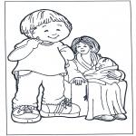 Ausmalbilder für Kinder - Mutter mit Kinder 2