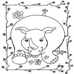Ausmalbilder Tiere - Nashorn 2