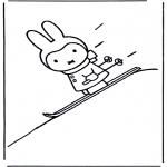Ausmalbilder für Kinder - Nientje auf skiern