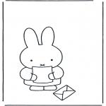 Ausmalbilder für Kinder - Nientje mit Brief