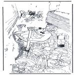 Ausmalbilder Comicfigure - Obelix, Idefix und Asterix