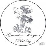 Ausmalbilder Themen - Oma hat Geburtstag