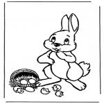 Ausmalbilder Themen - Osterhase mit Eier 1
