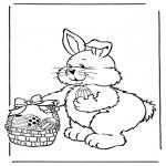 Ausmalbilder Themen - Osterhase mit Eier 2