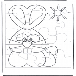 Ausmalbilder Themen - Osterhase Puzzle 1