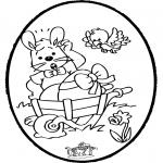 Ausmalbilder Themen - Osterhase Stechkarte 1