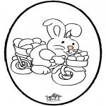 Ausmalbilder Themen - Osterhase Stechkarte 2
