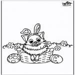 Ausmalbilder Themen - Ostern - Hund