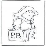 Ausmalbilder für Kinder - Paddington mit Koffer