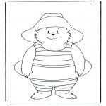 Ausmalbilder für Kinder - Paddington mit Schwimmring