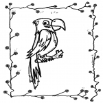 Ausmalbilder Tiere - Papagei 2