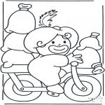 Basteln Stechkarten - Peter auf Fahrrad