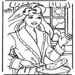 Ausmalbilder Comicfigure - Pfannkuchen backen