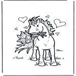 Ausmalbilder Tiere - Pferd mit Blumen