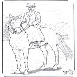 Ausmalbilder Tiere - Pferd mit Dame