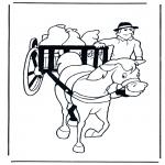 Ausmalbilder Tiere - Pferd mit Wagen
