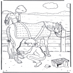 Ausmalbilder Tiere - Pferd pflegen