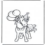 Ausmalbilder Tiere - Pferd's Geburtztag