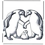 Ausmalbilder Tiere - Pinguin und Jung