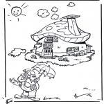 Ausmalbilder für Kinder - Plop bei seinem Häuschen