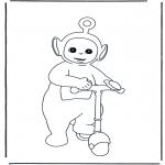 Ausmalbilder für Kinder - Po mit Roller