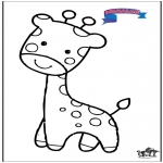 Ausmalbilder Tiere - Primalac Giraffe