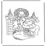 Ausmalbilder Comicfigure - Pu der Bär als Weihnachtsman