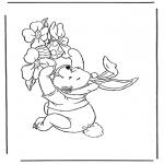 Ausmalbilder Themen - Pu der Bär mit Ostern