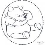 Basteln Stickkarten - Pu der Bär Stickkarte 1